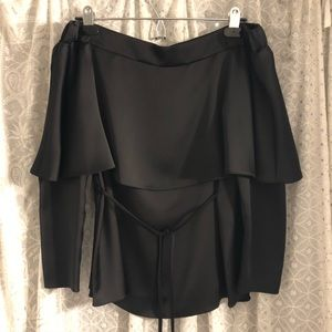 Off the Shoulder Satin Blouse